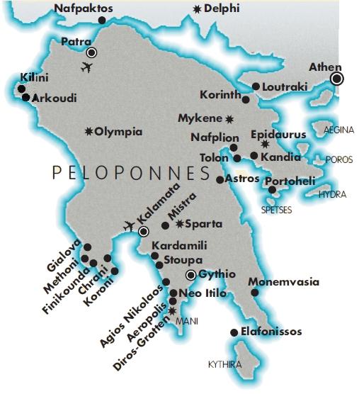 Karte Griechenland Peloponnes.Halbinsel Peloponnes Der Suden